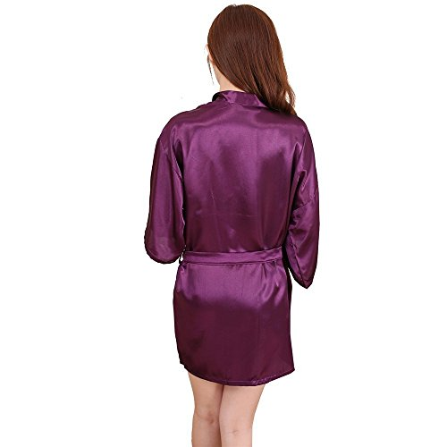 Price comparison product image BABY-QQ Sexy Women's Kimono Bridesmaids Robe Satin Lounge Short Style for Wedding and Bath Dark PurpleX-Large