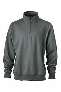 James & Nicholson Men's JN831 Workwear Half Zip Sweatshirt dark-grey M