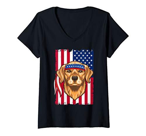 Womens 4th of July Shirt Fun American Flag USA Golden retriever V-Neck T-Shirt