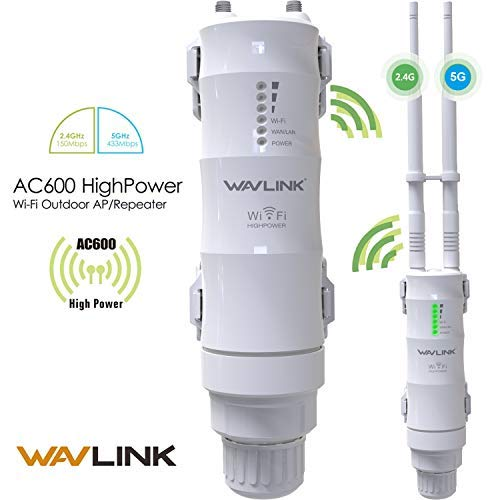 WAVLINK-WN570HA1-AC600 High Power 802.11AC Dual Band 2.4+5G 600Mbps Weatherproof Outdoor Wireless Access Point (AP)/Router/Repeater WiFi Blast Range Extender Internet Signal Booster Amplifier in PoE