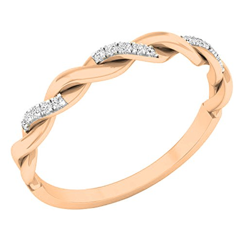 (Dazzlingrock Collection 0.05 Carat (ctw) 14K Round Diamond Bridal Wedding Band Stackable Swirl Ring, Rose Gold, Size 7)