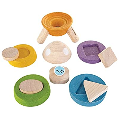 PlanToys Wooden Sorting and Stacking Rocket with Astronaut (5694) | Sustainably Made from Rubberwood and Non-Toxic Paints and Dyes | Eco-Friendly PlanWood: Toys & Games