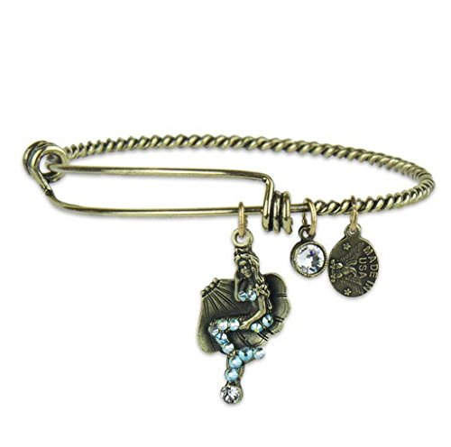 Anne Koplik Mermaid Adventure Charm Bangle Bracelet with Swarovski Crystals ()