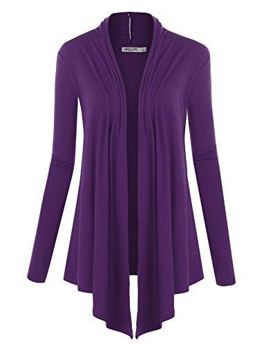 (WSK850 Womens Draped Open- Front Cardigan XL Dark_Purple)