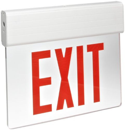 Morris Products LED Exit Sign – Surface Mount Edge – Red on Clear Panel, White Housing – Compact, Low-Profile Design – Single Side Legend – Energy Efficient, High Output – 1 Count ()