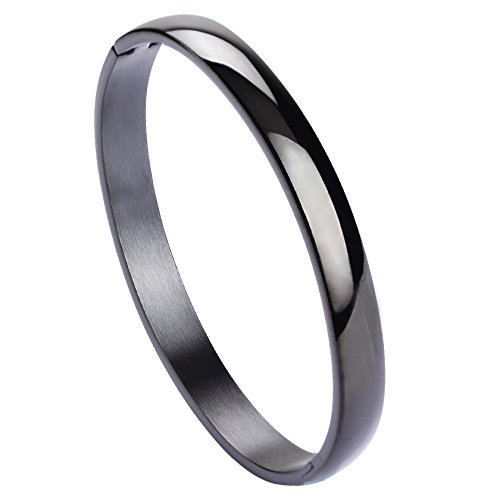 Jusnova Womens Mens Stainless Steel Brecelet Plain Polished Finish Cuff Bangle 7.3 Inches Black ()