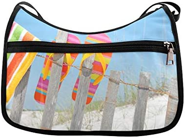 Beach Flip Flops In Rainbow Color Messenger Bag Crossbody Bag Large Durable Shoulder School Or Business Bag Oxford Fabric For Mens Womens