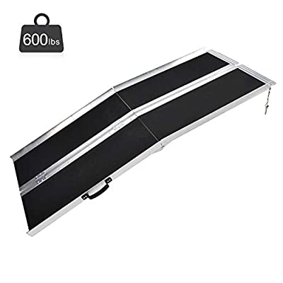Fullwatt 6FT Non Skid Aluminum Wheelchair Ramp Folding Portable Wheelchair Scooter Ramp with Carrying Handle 72 Inch x 31 Inch