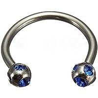Blue Crystal Surgical Steel Piercing Horseshoe Lip Bar Stud Nose Ear Nipple Ring Hoop
