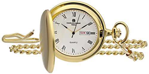Date Quartz Pocket Watch - Charles-Hubert, Paris 3974-G Classic Collection Analog Display Japanese Quartz Pocket Watch