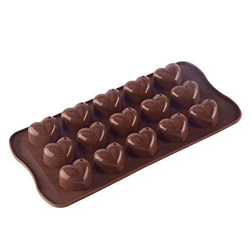 Tcplyn 1PCS Silicone Heart-Shape Mould Chocolate Candy Tray Mold DIY Baking Supplies for Making Chocolate Jelly Icing etc Coffee