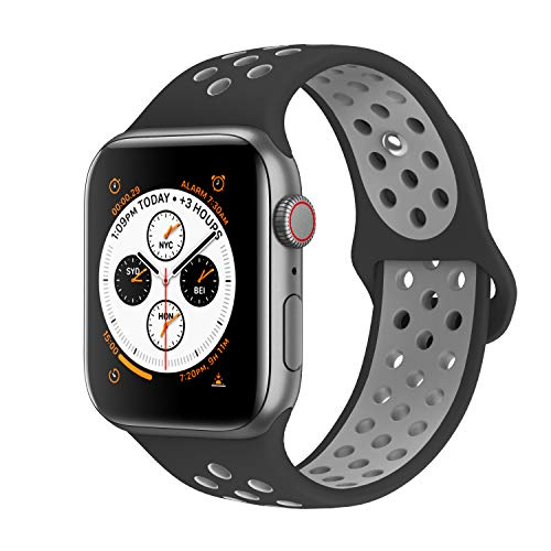 AdMaster Compatible with Apple Watch Bands 38mm 40mm,Soft Silicone Replacement Wristband Compatible with iWatch Series 1/2/3/4 - S/M Black/Cool Gray ()