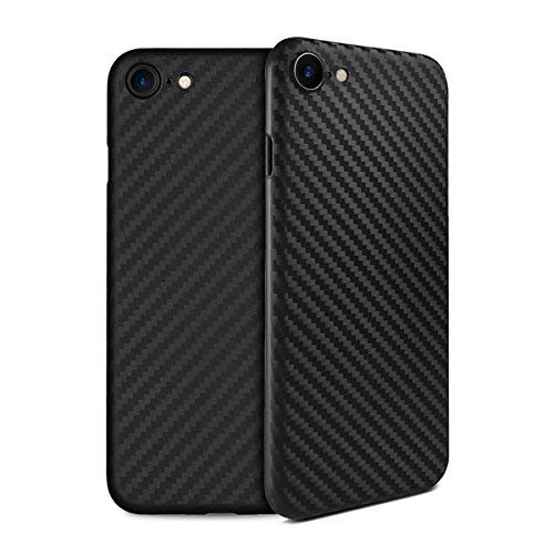 (doupi UltraSlim Case iPhone 8/7 Carbon Fiber Look Feather Light Skin Protective Cover Bumper Shell Hardcase, Black)