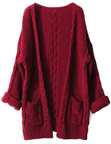 Liny Xin Women's Cashmere Loose Casual Long Sleeve Open Front Oversized Cardigan Sweater Wool Coat Sherpa Jacket with Pockets (L, Red)
