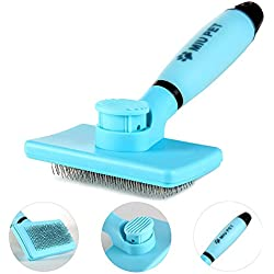 MIU PET Pet Self Cleaning Slicker Brush - Effectively Reduces Shedding By Up To 95% - Professional Pet Grooming Brush For Small, Medium & Large Dogs And Cats, With Short to Long Hair -by