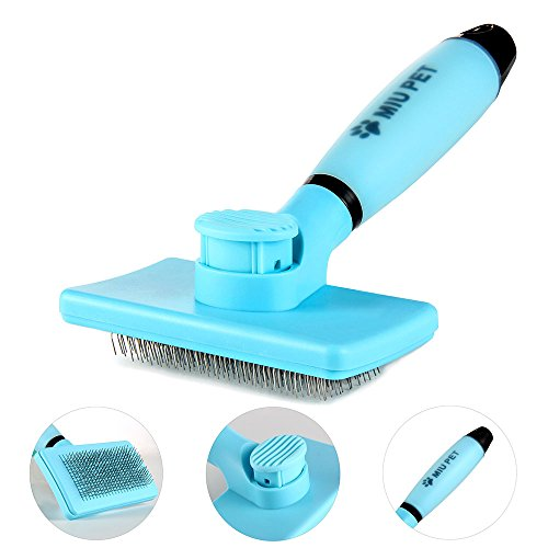 Pet Self Cleaning Slicker Brush - Effectively Reduces Shedding By Up To 95% - Professional Pet Grooming Brush For Small, Medium & Large Dogs And Cats, With Short to Long - Miu Cat