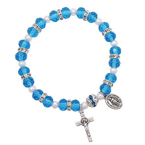 Rosemarie Collections Women's Beaded Stretch Rosary Bracelet with Crucifix and Miraculous Medal - Crucifix Beaded