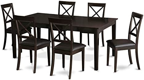 East West Furniture HEBO7-CaP-LC 7-Piece Dining Room Set Included a Self-Storing Butterfly Leaf Wooden Dining Room Table and 6 Dining Room Chairs