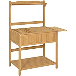 Best Choice Products Outdoor Garden Wooden Recessed Storage Potting Bench Work Station - Natural