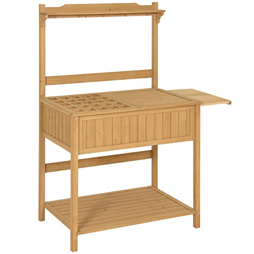 (Best Choice Products Outdoor Garden Wooden Recessed Storage Potting Bench Work Station - Natural)