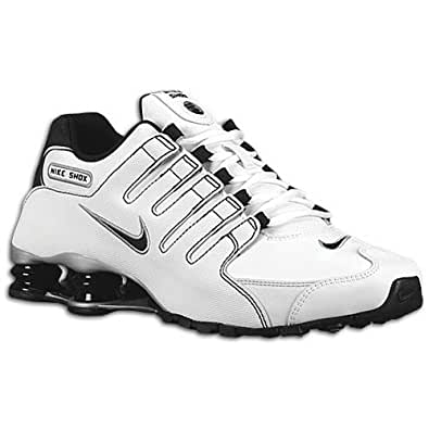 Amazon.com | Nike Shox NZ White-Black-Metallic Silver Men