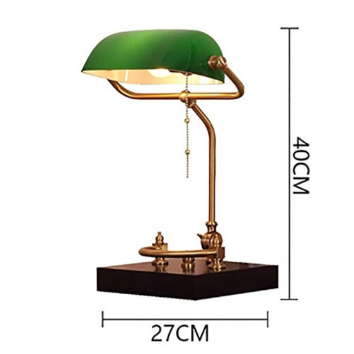 - Marching orchid European Eye Protection Bank Lamp, Vintage Nostalgic Study Office Bank Desk Lighting, Metal Beaded Pull Cord Switch