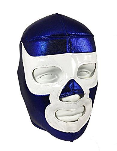 [Luchador Demon Adult Lucha Libre Wrestling Mask (pro-fit) Costume Wear - Blue/White] (Custom Wrestling Costumes)
