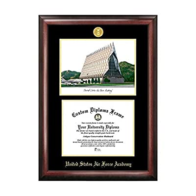 Campus Images Sports Team Logo Design United States Air Force Academy Gold Embossed Diploma Frame with Campus Images Lithograph