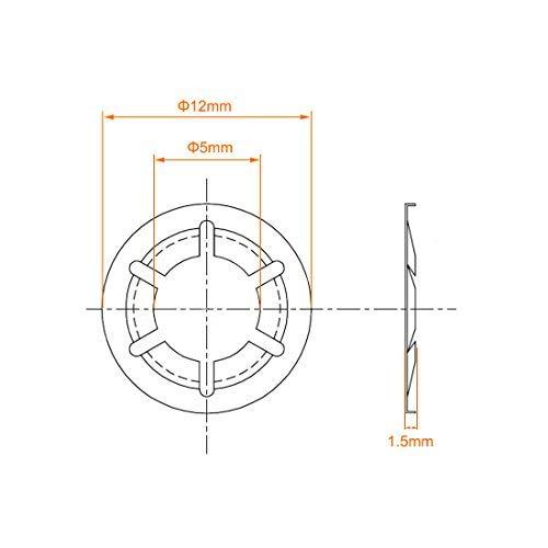 5 mm Internal Diameter 12 mm External Diameter 100 Pieces M5 Internal Tooth starlock Washer Stainless Steel Pressure Lock Washer Lock washers Clip Holder