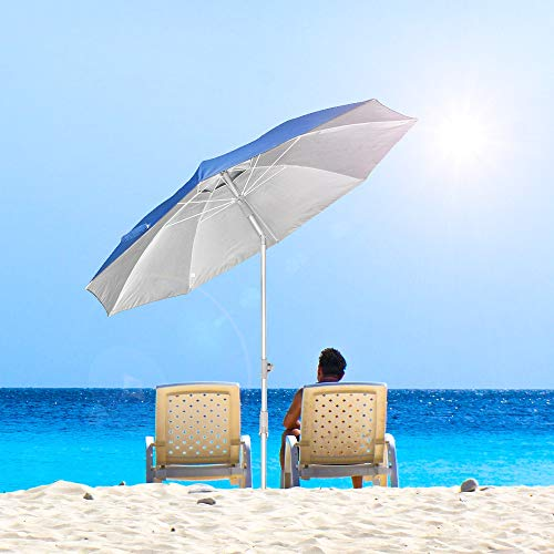 Snail Beach Umbrella, 7 ft Sand Anchor with Tilt Aluminum Pole, Portable Sun ray Protection Beach Umbrella with Carry Bag for Outdoor Patio, Blue
