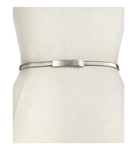 INC International Concepts Womens Women's Metallic Style&co. Cobra Stretch Chain Belt Silver Small-Med