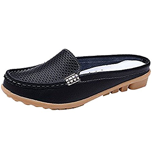 YING LAN Womens Slip On Mule Closed Toe Casual Sandals PU Leather Summer Slipper Black 38 by YING LAN