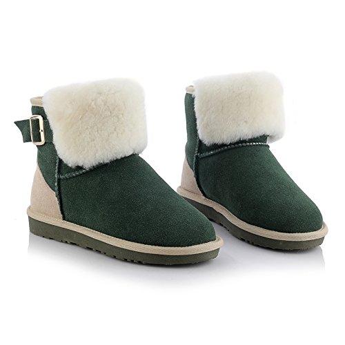 Sheepskin Snow AIWEIYi Geniune Boots Boots Winter Fur Leather Womens Green Warm P88WCc7R