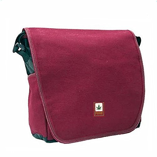 PURE TH - 0003 shoulder bag made of Tarpaulin, true hemp and organic cotton 20 x 22 x T8 Red - Bordeaux Red