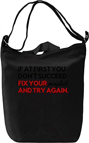 Fix your Ponytail Borsa Giornaliera Canvas Canvas Day Bag| 100% Premium Cotton Canvas| DTG Printing|