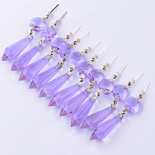 NiuZaiz 20Pcs K9 Purple Crystal Glass Chandelier Prisms Pendant Beads Rainbow Maker Hanging Suncatcher Replacement Crystals Lighting Lamp Candelabra Decoration (38mm, Purple)