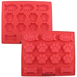 Mehome 14-cavity Silicone Mold Dog Paws Bones Fish for Soap, Bread, Loaf, Muffin, Brownie, Cornbread, Cheesecake, Pudding,Baking,cake Mould