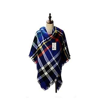 Women's Cozy Tartan Blanket Scarf Wrap Shawl Neck Stole Warm Plaid Checked Pashmina (Blue)