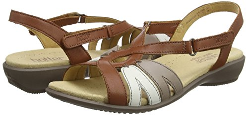 Tan Sandalias EXF Abierta 131 Mujer Punta Flare Marrón con Hotter Multi qwfE8FW