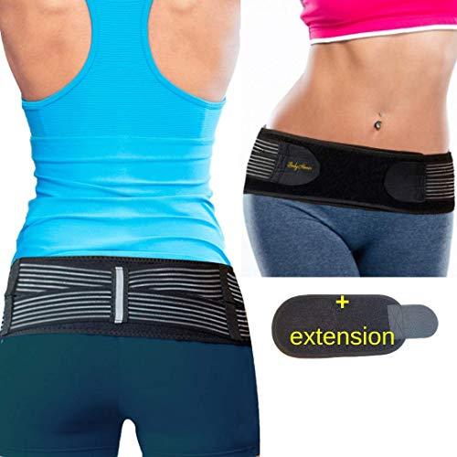 BodyMoves Sacroiliac Si Joint Hip Belt Plus Extension for Men and Women-Stabilizing Si Brace Alleviates Inflammation Sciatica Pain Relief- Anti-Slip Sacral Pelvis Trochanter Pelvic Support Belt