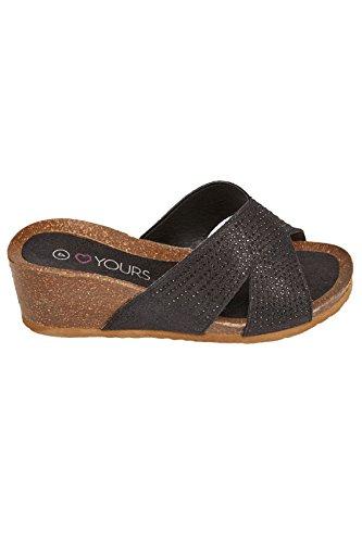 Wide Fit Women's Diamante Embellished Crossover Mule Wedge Sandals In True Eee F Black
