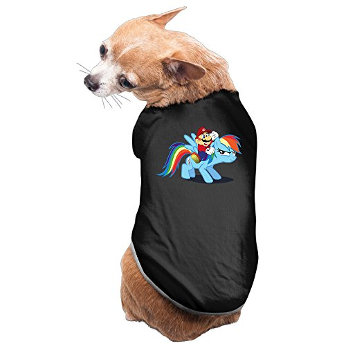 [Bro-Custom Super Mario Bros With My Little Pony T Shirts For Doggie Size L Black] (My Little Pony Costume For Dogs)