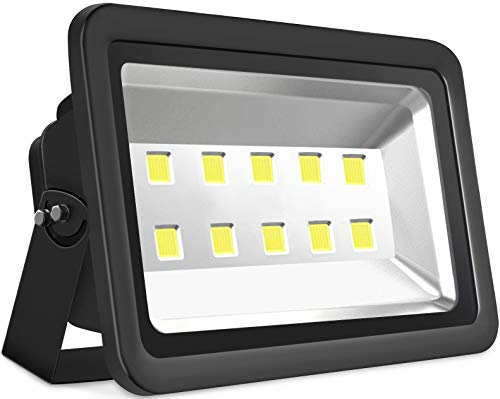 SZPIOSTAR Black 500W Outdoor LED Flood Light, Super Bright 50000lm, Daylight White 6000K, Waterpoof IP65, 50,000hrs Lifetime, All Weather Lighting Fixtures for Yard Playground Square