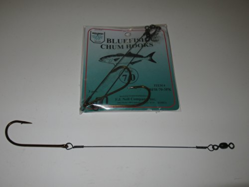 Dolphin 3 PACK WIRE SNELLED BLUEFISH CHUM CHUNK SIZE 7/0 HOOK RIG - Hooks Snelled Wire