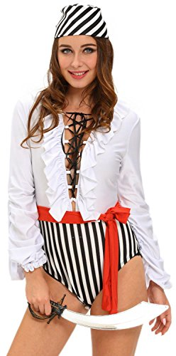 Booty Gal Women's Sexy Role Play Cosplay Pirate Captain Costume Set For Hallowmas (Mickey Mouse Costume Rental For Adults)