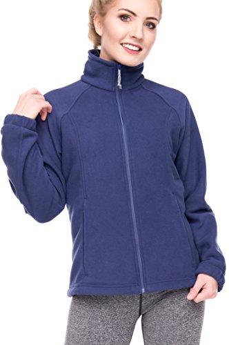 (Women's Full-Zip Polar Sport Fall Winter Spring Fleece Jacket Navy XS)