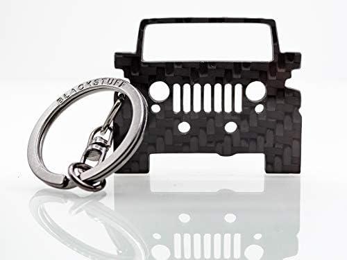 BlackStuff Portachiavi in Fibra di Carbonio Compatibile con Jeep Wrangler TJ Grill BS-326