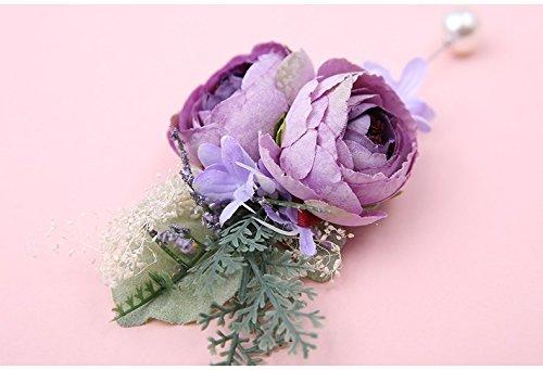 人工Suitメンズラペル花、椿の花ウェディング新郎ブートニアピンからhoocozi、1pce、パープル B07BF5MK41