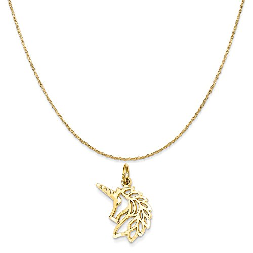 14k Yellow Gold Unicorns Head Pendant on a 14K Yellow Gold Rope Chain Necklace, 16
