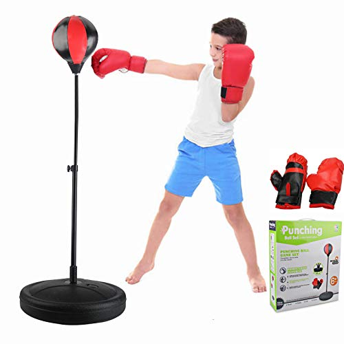 Boxing Punching Bag for Kids Age 4-10 Includes Boxing Gloves and Air Pump, Freestanding Punching Bag with Stand Height…